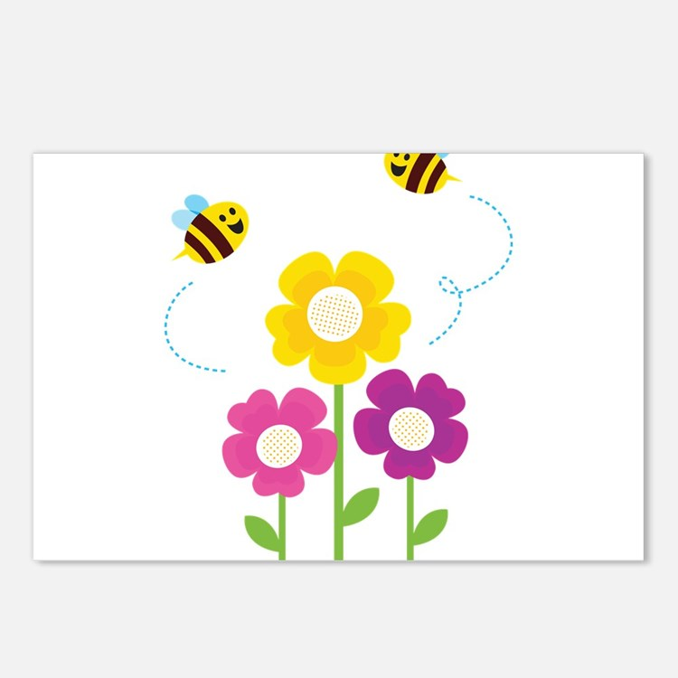 Bees with Flowers Postcards (Package of 8)