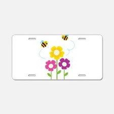 Bees with Flowers Aluminum License Plate