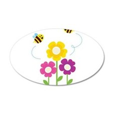 Bees with Flowers Wall Decal