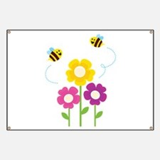 Bees with Flowers Banner