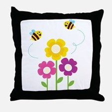 Bees with Flowers Throw Pillow
