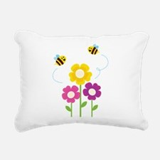 Bees with Flowers Rectangular Canvas Pillow
