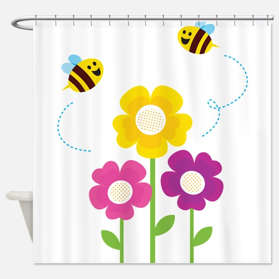 Bees with Flowers Shower Curtain