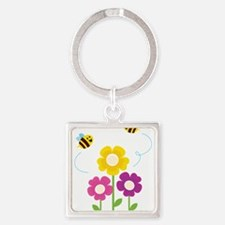 Bees with Flowers Keychains