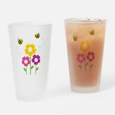 Bees with Flowers Drinking Glass