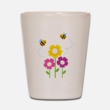 Bees with Flowers Shot Glass