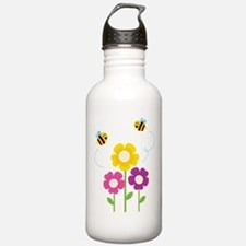 Bees with Flowers Water Bottle