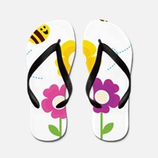 Bees with Flowers Flip Flops