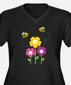 Bees with Flowers Plus Size T-Shirt
