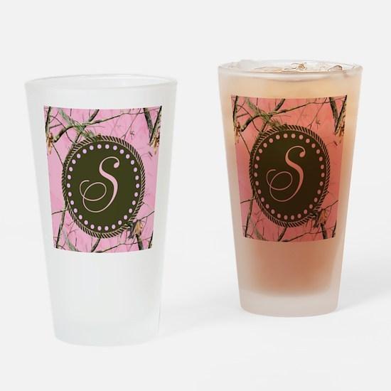 Pink woodland camo Custom Drinking Glass