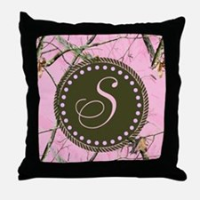 Pink woodland camo Custom Throw Pillow