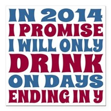 """New Years 2014 Party Res Square Car Magnet 3"""" x 3"""""""
