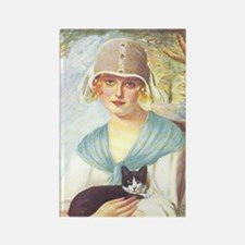 Vintage Woman with Cat Rectangle Magnet