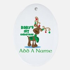 Personalized Babys 1st Christmas reindeer Ornament