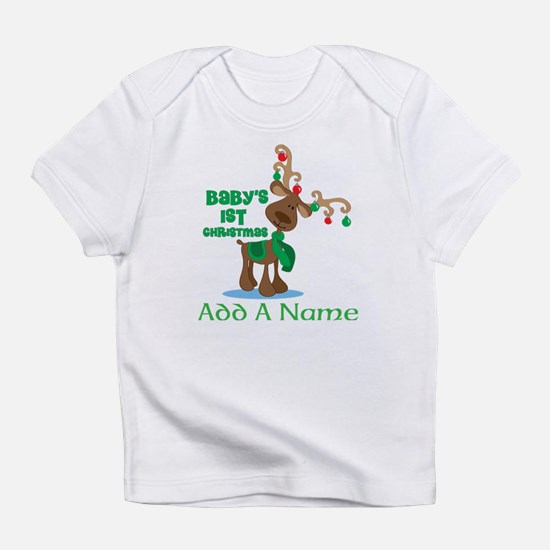 Personalized Babys 1st Christmas reindeer Infant T