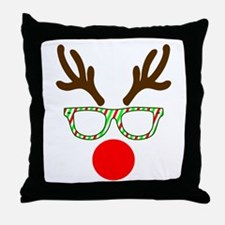 Hipster Reindeer Throw Pillow