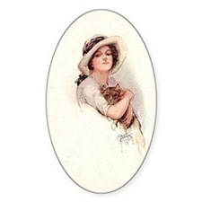 Vintage Woman with Cat Decal