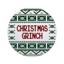 Christmas Grinch Funny Ugly Christm Round Ornament