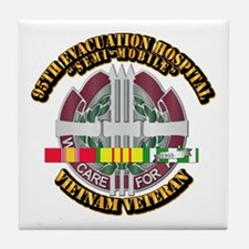 Army - 95th Evac Hospital w SVC Ribbon Tile Coaste