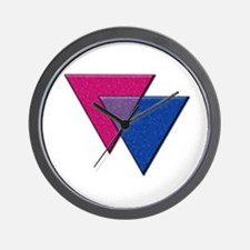 Triangles Symbol - Bisexual Pride Flag Wall Clock