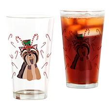 Yorkie Christmas Drinking Glass