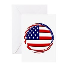 USA Flag Round Greeting Cards (Pk of 10)