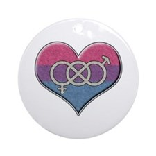 Bisexual Pride Heart with Gender Knot Ornament (Ro