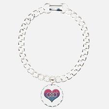 Bisexual Pride Heart with Gender Knot Bracelet