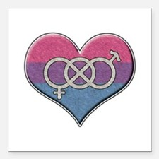 Bisexual Pride Heart with Gender Knot Square Car M