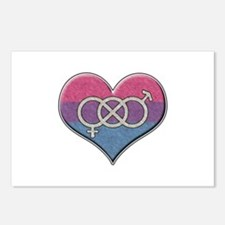 Bisexual Pride Heart with Gender Knot Postcards (P