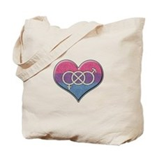 Bisexual Pride Heart with Gender Knot Tote Bag