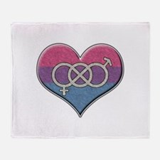 Bisexual Pride Heart with Gender Knot Throw Blanke