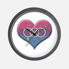 Bisexual Pride Heart with Gender Knot Wall Clock