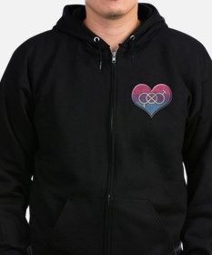 Bisexual Pride Heart with Gender Knot Zip Hoodie