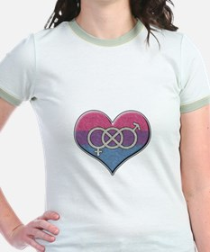 Bisexual Pride Heart with Gender Knot T-Shirt