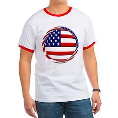 USA Flag Round T