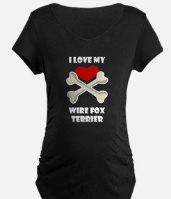 I Love My Wire Fox Terrier Maternity T-Shirt