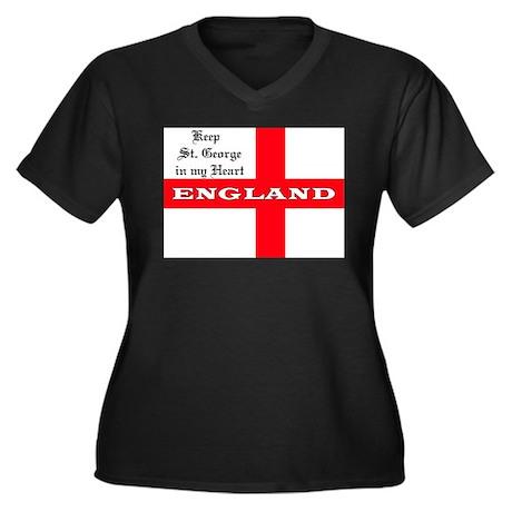 St. George's Flag Women's Plus Size V-Neck Dark T-