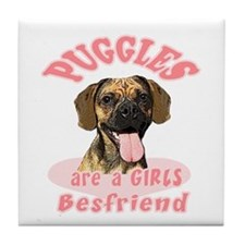 Puggles are a girls best frie Tile Coaster