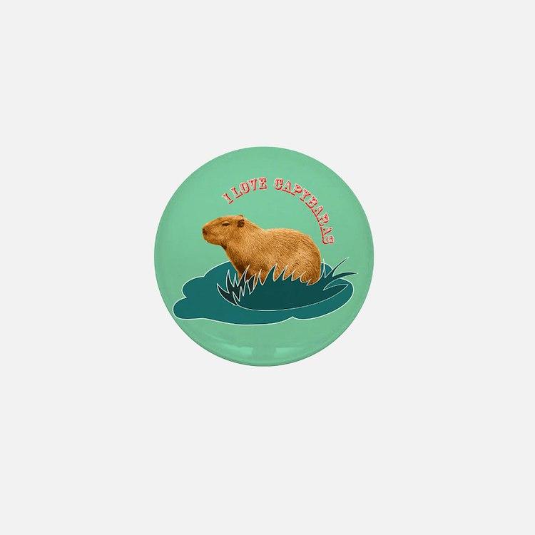 I Love Capybaras Mini Button