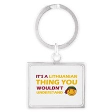 Lithuanian smiley designs Landscape Keychain