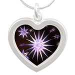 Sparkling Stars Silver Heart Necklace