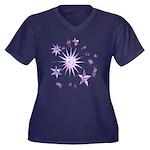 Sparkling Stars Women's Plus Size V-Neck Dark T-Sh