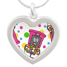 Pink Gumball Machines Silver Heart Necklace