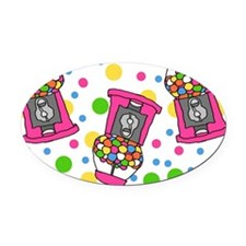 Pink Gumball Machines Oval Car Magnet