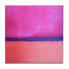 PINK BLUE PEACH ROTHKO Tile Coaster