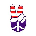 Patriotic Peace Hand (tall bumper sticker)