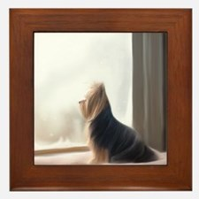 ByCatiaCho Yorkie At the window Framed Tile