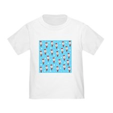 Santa Pattern on Blue. T-Shirt