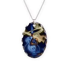 The Guitar Player abstract des Necklace Oval Charm